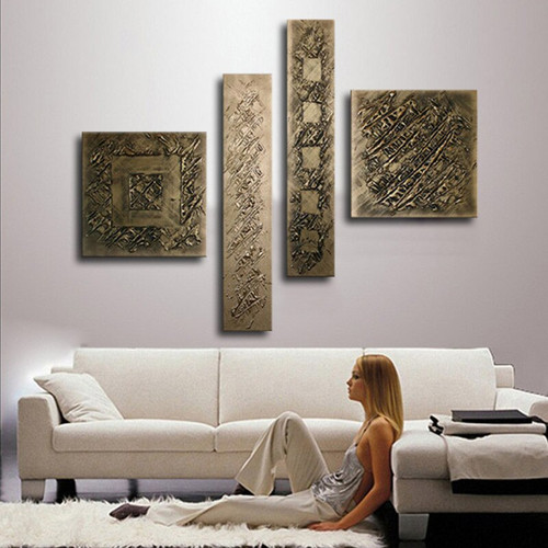 Hand-painted Bronze Oil Painting 4 Panel Pictures Wall Art Sets Modern Home Abstract Graffiti Canvas Paintings for Living Room