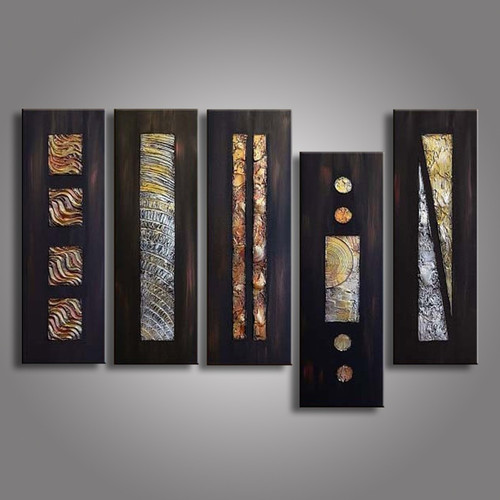 5 Piece Abstract Picture Geometric Black Oil Painting Hand Painted Canvas Paintings Acrylic Wallpaper Modern Home Decor 5 Panel