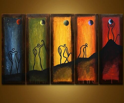 Abstract Colorful Hand Painted Oil Painting on Canvas Human Acrylic Paintings Modern Home Decor Wall Art 5 Panel Pictures Huge