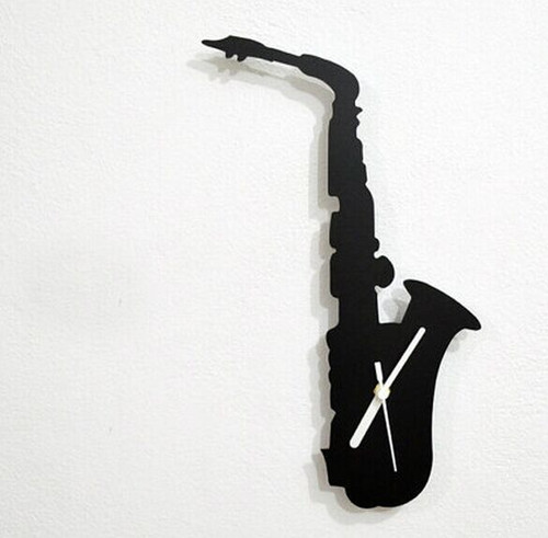 Saxophone - Wall Clock- Wall Clock, DIY wall clock mirror sticker for home interior house deco