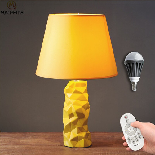 Nordic Yellow Ceramic table lamp Simple Pineapple Led Table Lamps For Living Room Table Light Home Deco Lighting Luminaria Table