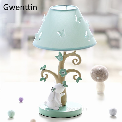 Modern Cute Fabric Table Lamps Rabbit Lamp Led Stand Light Fixtures Desk Lights for Kids Baby Girl Bedroom Luminaire Home Deco