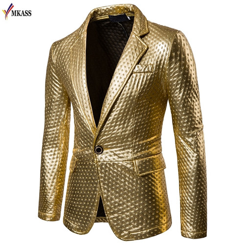 New Fashion Mens Brand PU Leather Blazer British Style Casual Slim Fit suit Jacket male Blazers Spring Men Coat Terno Masculino
