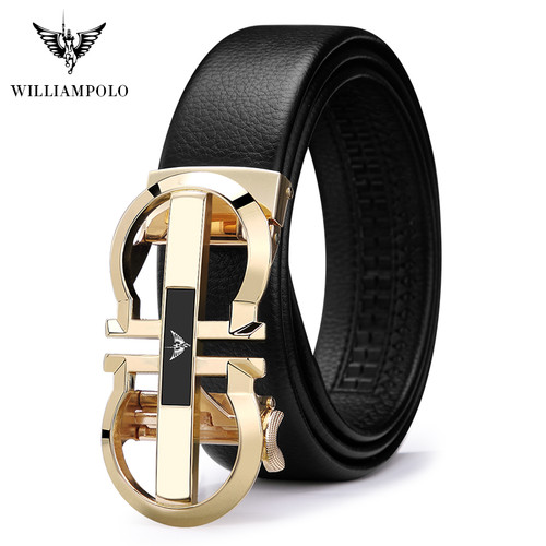 Williampolo 2019 Luxury Brand Designer Leather Mens Genuine Leather Strap Automatic Buckle Waist Belt Gold Belt PL18335-36P-SMT