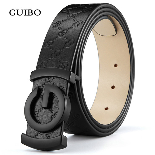 Luxury Brand Cow Genuine Leather Men Belt Smooth Buckle High Quality Male Strap for Business Casual Jeans Fashion Waistband
