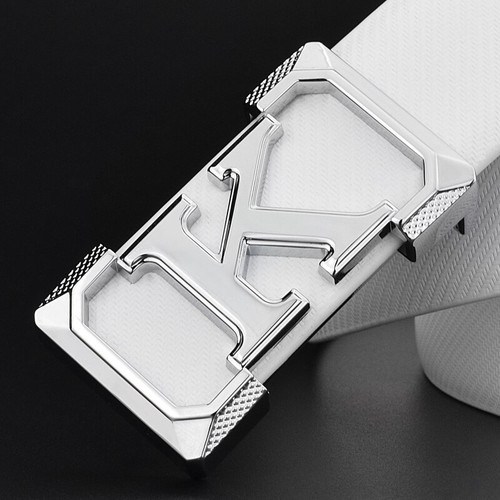 K letter Casual belt for men White fashion designer belts boy leisure Cowskin Waist Strap genuine leather metal buckle Waistband