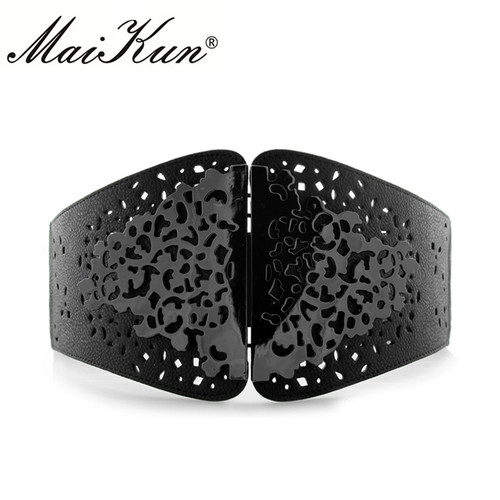 Maikun Vintage Wide Waist Belts for Women Stretchy Corset Waistband Hollow All-Match Women's Belt Flower Pattern Cummerbund