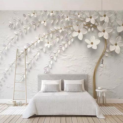 Custom Mural Wallpaper 3D Stereo Embossed White Flower Branch Photo Wall Paper Living Room Bedroom Home Decor 3D Papel De Parede
