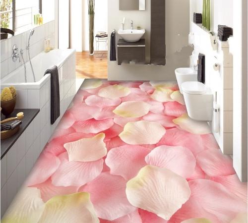 [Self-Adhesive] 3D Pink Roses Petals 4 Non-slip Waterproof Photo Self-Adhesive Floor Mural Sticker WallPaper Murals Print Decal