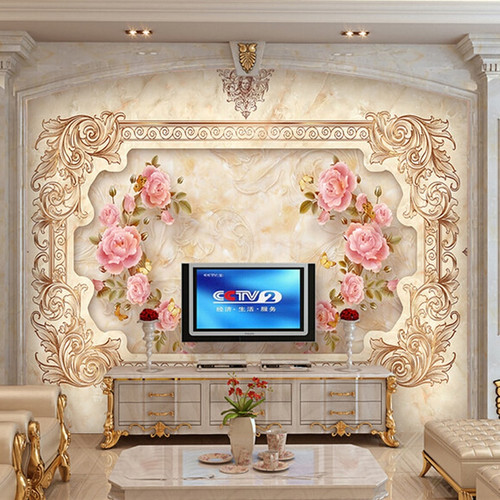 Custom 3D Wall Mural Wallpaper European Style 3D Stereo Relief Rose Flower Murals Wall Decorations Living Room Bedroom Wallpape