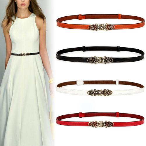 Woman Belt Luxury Brand Genuine leather belts for women fashion adjustable belts dress Jeans Belts thin cowhide waistband brown