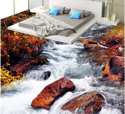 3 d pvc flooring custom wall paper Hd streams waterfall 3d bathroom bedroom flooring Setting wall mural Adornment picture