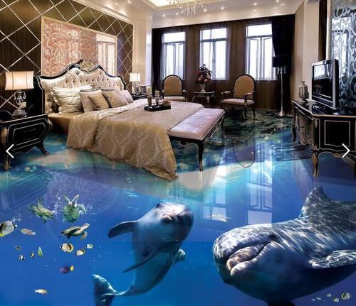 3 d pvc flooring custom waterproof picture 3d underwater world dolphins 3d bathroom flooring photo 3d wall murals wallpaper