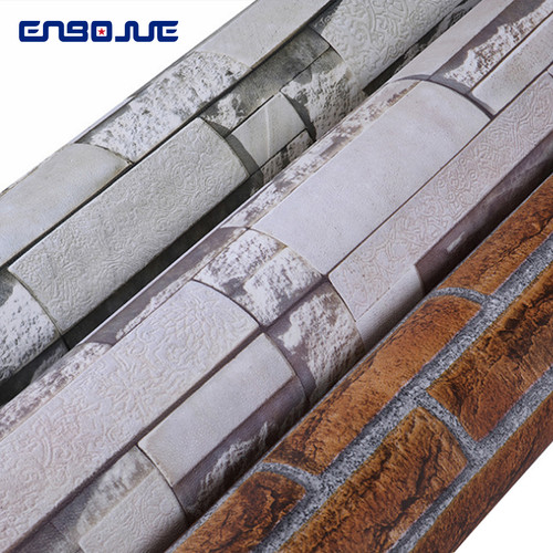 Vintage 3D Brick Pattern Wallpaper PVC Culture Stone Wallpapers Self Adhesive Living Room TV Background Waterproof Wall Stickers