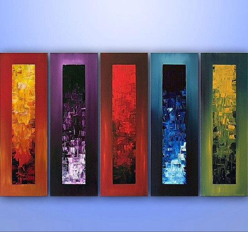 Hand Painted 5 Panel Painting Bedroom Modern Abstract Graffiti Acrylic Wall Art Canvas Oil Paintings Home Decor Colorful Picture