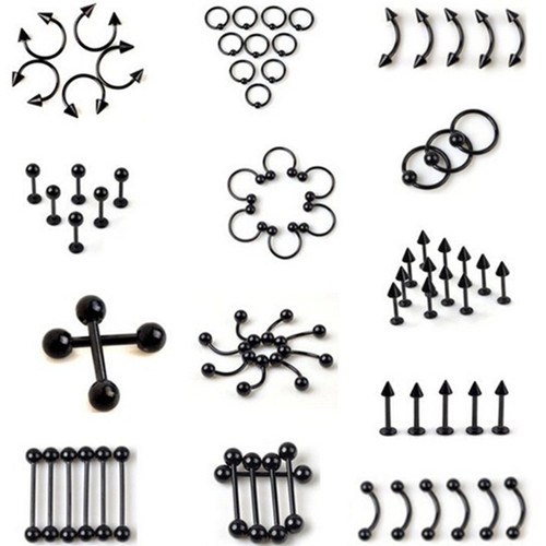 Black Titanium Anodized Stainless Steel Captive Eyebrow Navel Belly Lip Tongue Nipple Labret Bar Nose Rings Body Piercing