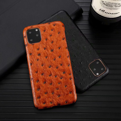 Luxury Genuine Leather Phone Case for Apple iPhone 11 Pro Max Cow Hide Leather Cover Fashion Ostrich Pattern