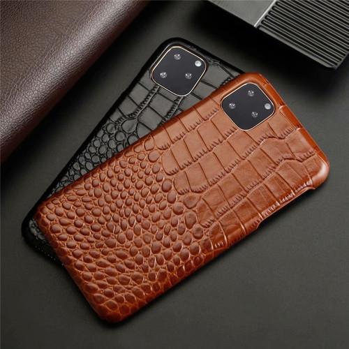 Luxury Genuine Leather Phone Case for Apple iPhone 11 Pro Max Crocodile Grain Cow Hide Cover Fashion Plain Business