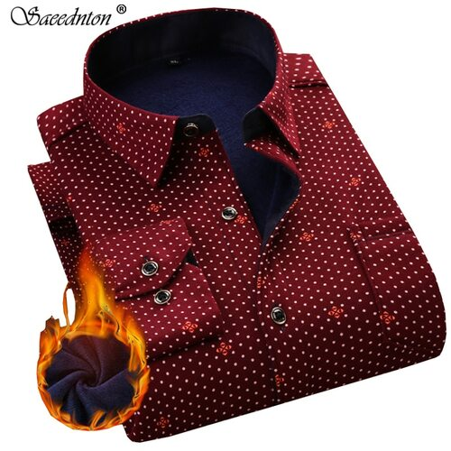 Men Dress Shirt 2019 Winter Men's Long Sleeve Plaid Warm Thick Fleece Lining Shirt Fashion Soft Casual Flannel Plus Size L-4XL
