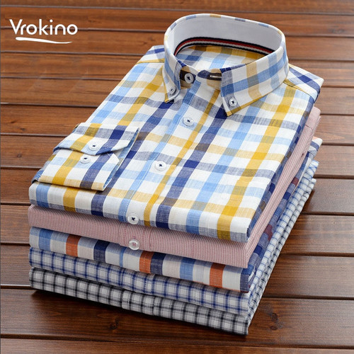 8XL 9XL 10XL 2019 Summer New Style Men's Long Sleeve 100% Cotton Plaid Shirt Business Casual Loose Exquisite Long-sleeved Shirt