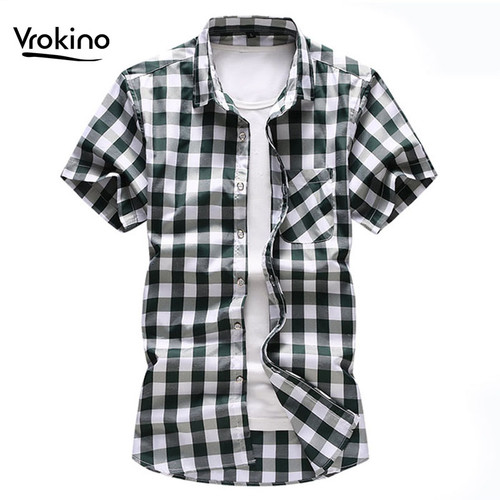 New Summer In 2019 Men's Chess Short Sleeve Plaid Shirt Fashion Men's Business Casual Large Size Shirt Brand Clothing 6XL 7XL