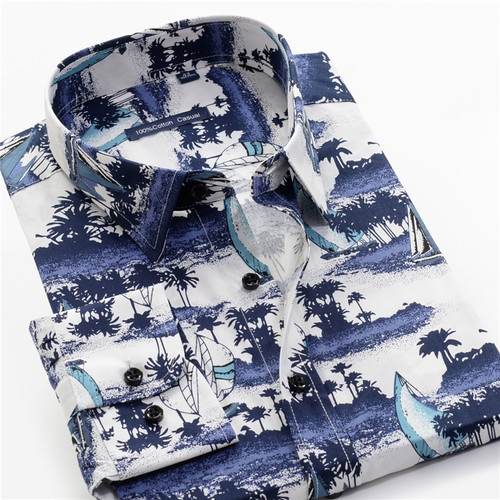 4-color Men's Printed Shirt 2019 New 100% Cotton Casual Hawaiian Long Sleeve Loose Shirts Male Brand Plus Size 7XL 8XL 9XL 10XL