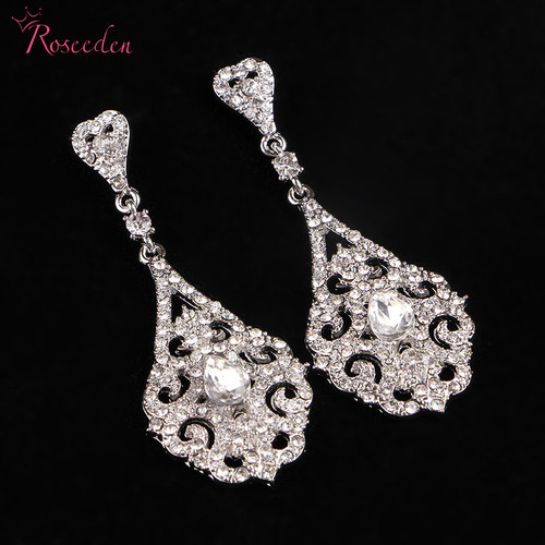 2018 New fashion bridal wedding earring flowers design sparkling earrings fashion jewelry bridal earrings Ladies jwellery RE422