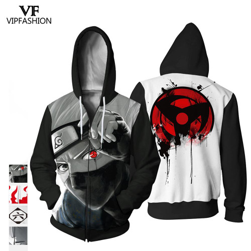 VIP Fashion 2019 High Quality Halloween Party Style Women Sweatshirt 3d Naruto Printed Cartoon Pattern Design Hoodies For Man