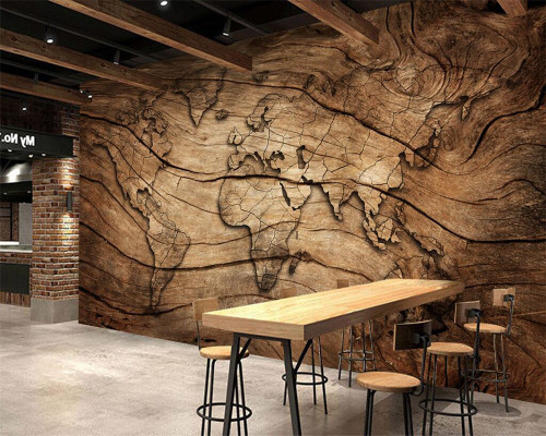 Beibehang Custom wallpaper vintage wood grain world map background wall living room bedroom TV background mural 3d wallpape