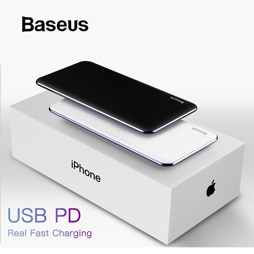 Baseus Thin Power Bank 10000mAh Type C PD Fast Charging For iPhone 11 Pro Max Portable External Battery Powerbank Charger Pack