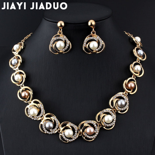 Jiayijiaduo Bridal Jewelry Sets Imitation Pearl Gold-color Wedding for Women Roses Tripe Beads Designed for Women Gifts