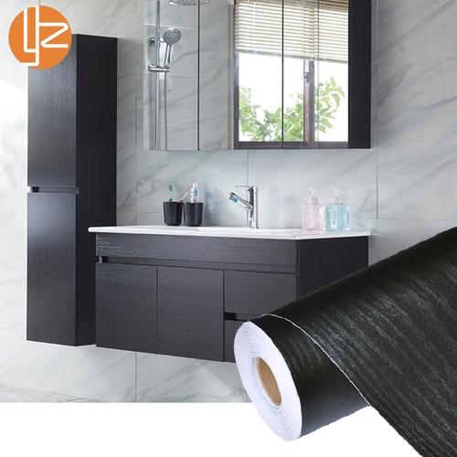 PVC Self Adhesive Waterproof Black Wood Wallpaper Roll Furniture Door Desktop Cabinets Wardrobe Vinyl Wall Sticker Contact Paper
