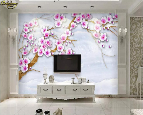beibehang Custom photo wallpaper mural hand-painted peach modern minimalist new Chinese marble wall wall papers home decor