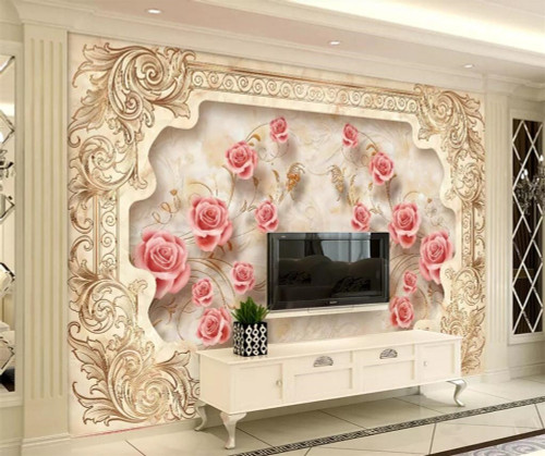 beibehang Custom Wallpaper 3d Photo Mural Stereo Royal Flying Flower European Aristocratic Marble Background wall paper 3d mural
