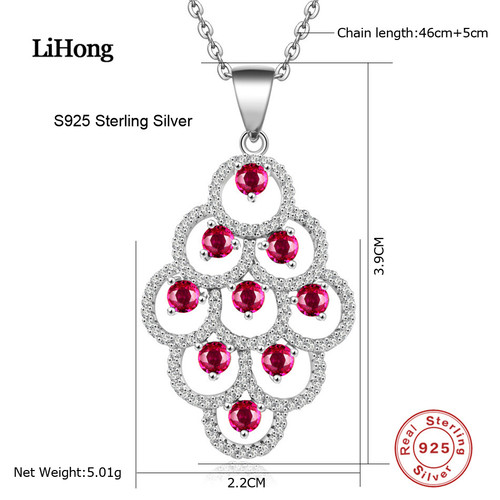 925 Sterling Silver Red Crystal Leaves Long Pendant Necklace, AAAA Quality Woman Pendants & Necklaces Jewelry
