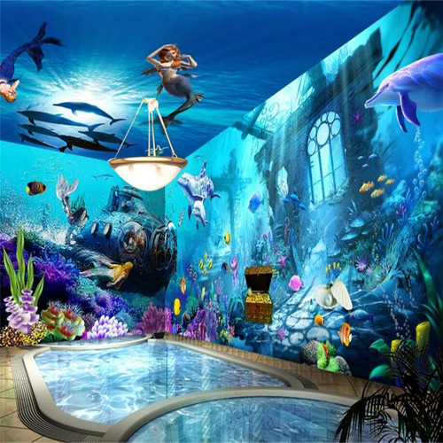 beibehang Submarine Quest Marine Mermaid wallpaper Lounge cafe backdrop custom 3d murals wall paper wall mural flooring paper