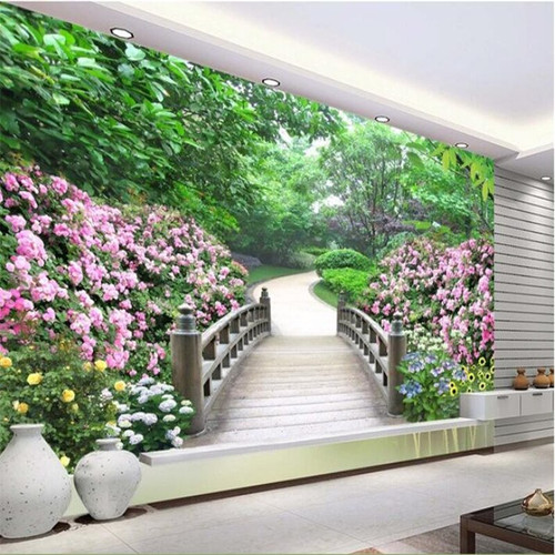 beibehang custom Home Decoration mural 3d room wallpaper Park landscape garden setting photo wall paper for walls papel flooring