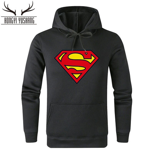 New Super hero Superman Hoodies Men Hooded Casual Winter Warm Sweatshirts Men's Casual Tracksuit Costume Pullover W90