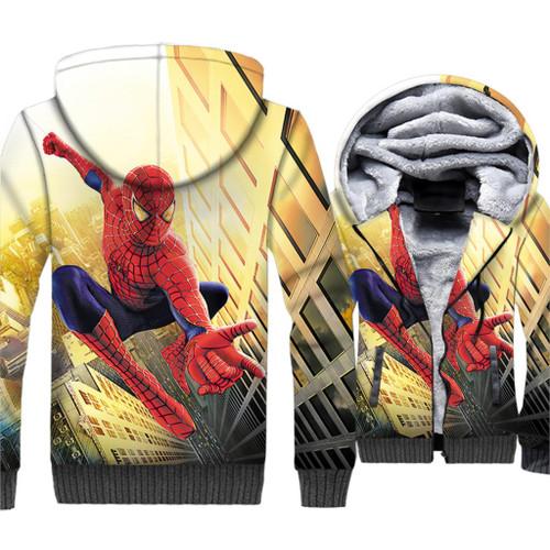 Spider Man Jacket Men 3D Print Hoodie Super Hero Hooded Sweatshirt 2018 New Winter Thick Fleece Warm Zip up Coat Plus Size 5XL