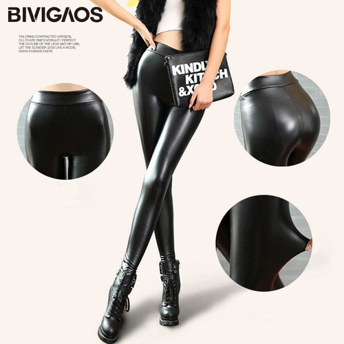 BIVIGAOS Fashion Women PU Leather Pants High Elastic Waist Leggings Not Crack Slim Leather Leggings Skinny Fleece Trousers Women