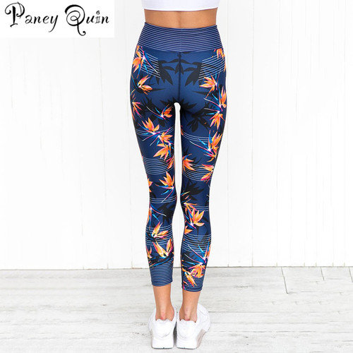 High Waist Leggings Women's Fitness Sport Leggings Stripe Printing Elastic Gym Workout Tights S-XL Running Trousers Plus Size