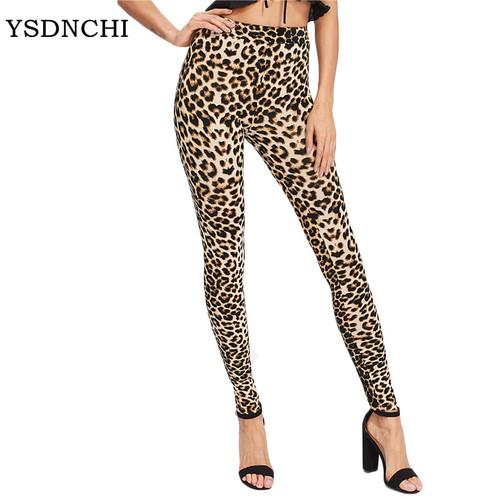 YSDNCHI 2019 Fashion Women Leggings Slim High Waist Elasticity Leggings Leopard Printing leggins Woman Pants Cotton Leggings