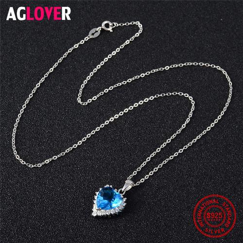 Ocean Heart 100% Sterling Silver Necklace AAA Crystal Zircon Woman Charm Jewelry Heart 925 Silver Pendant Necklace