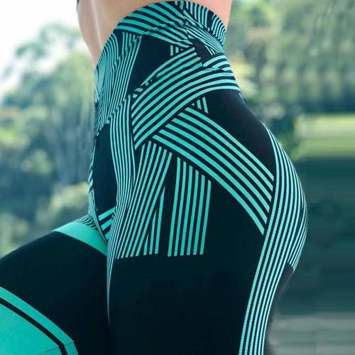SVOKOR High Waist Leggings Ladies Digital Printing Striped Fitness Leggings Casual Sports Breathable Pants Women's Clothing