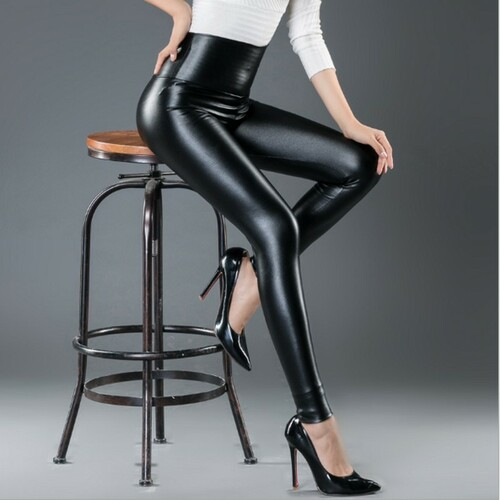 Womens PU Leather Pants High Elastic Waist Leggings Not Crack Slim Leather Leggings Fleece Trousers Women Fashion F80