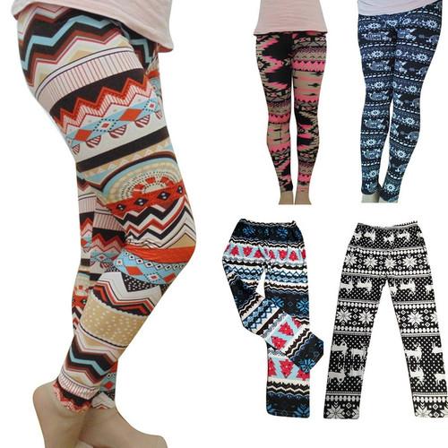 2PCS/lot Women's Autumn Leggings Girl Winter Legging Bottoms Snowflake Christmas Deer Print Leggings Women Clothing Jeggings