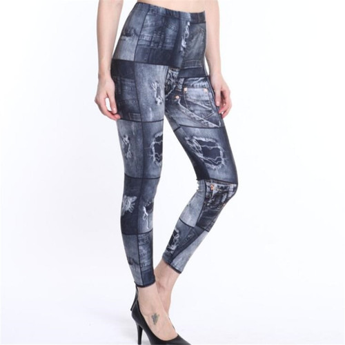 NDUCJSI Faux Denim Jeans Legging Sexy Printed Legging Summer Women Leggings Casual High Waist Pants Pencil Pants Free size