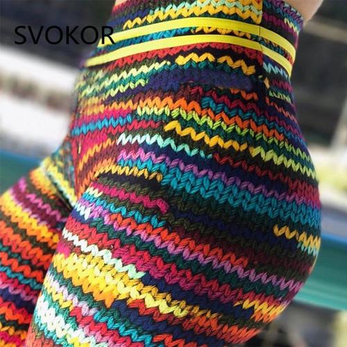 SVOKOR Push Up Women's Legging Knitting Polyester Ankle-Length Jeggings Stretching Novel Print High Waist Gilr Legging Fitness