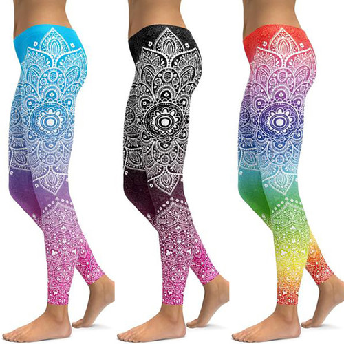 Ombre Mandala Women Fitness Leggings Workout High Waist Sports Running Leggings Sexy Push Up Gym Wear Elastic Slim Pants