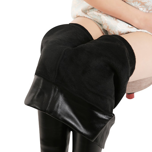 Women's Plus Size Velvet Leather Jeggings Warm Winter Faux Leather Leggin Long High Waist Slim Thicken Elastic PU Sexy Leggings